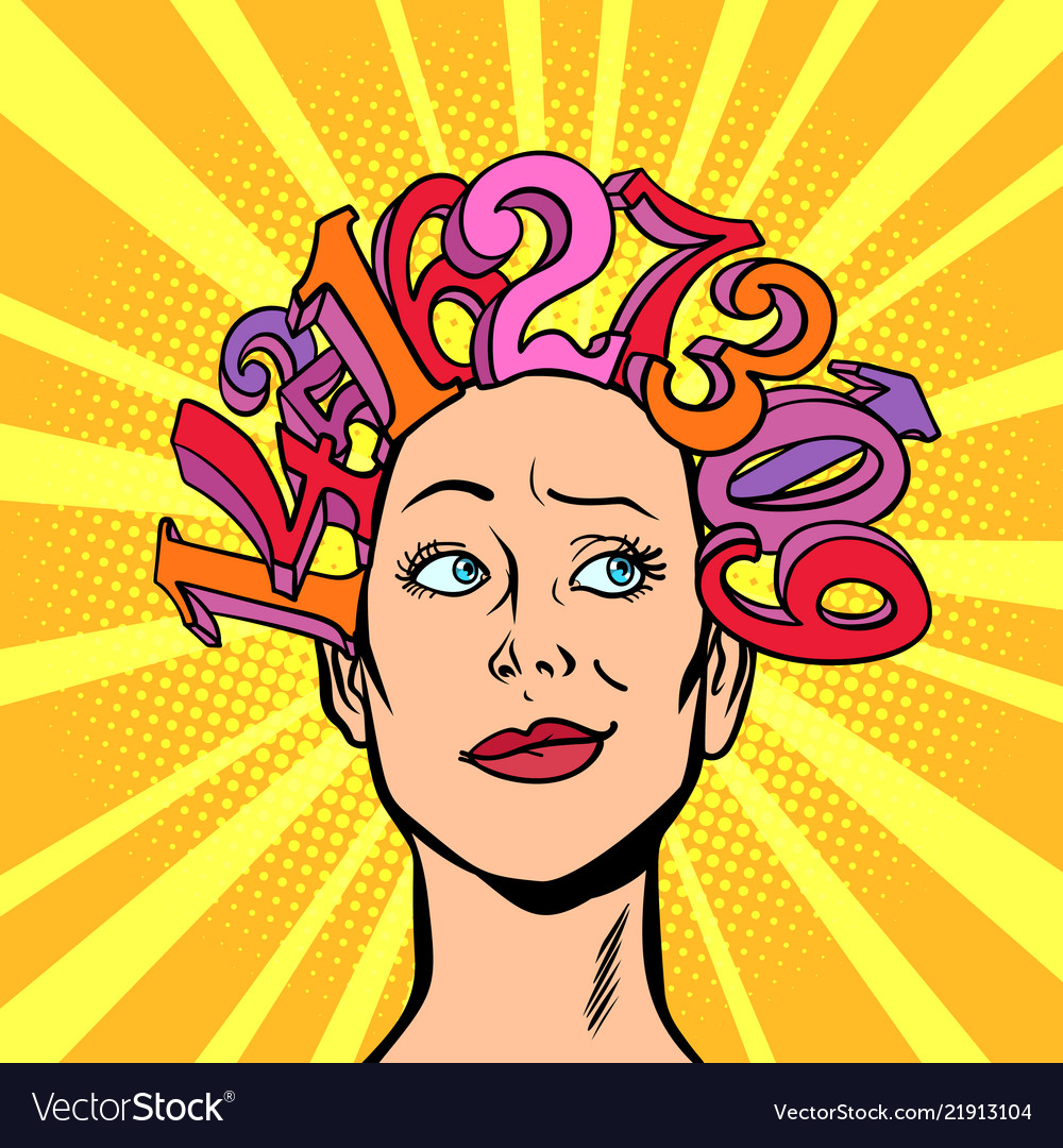 Numbers hair on head the woman and mathematics
