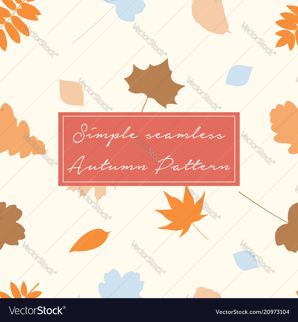 Seamless pattern with autumn leaves in orange