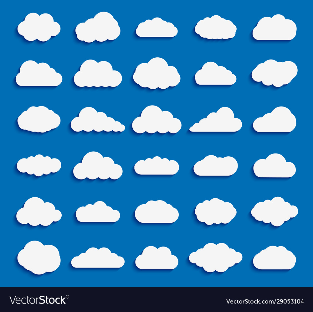 Set cloud icon white color on blue background