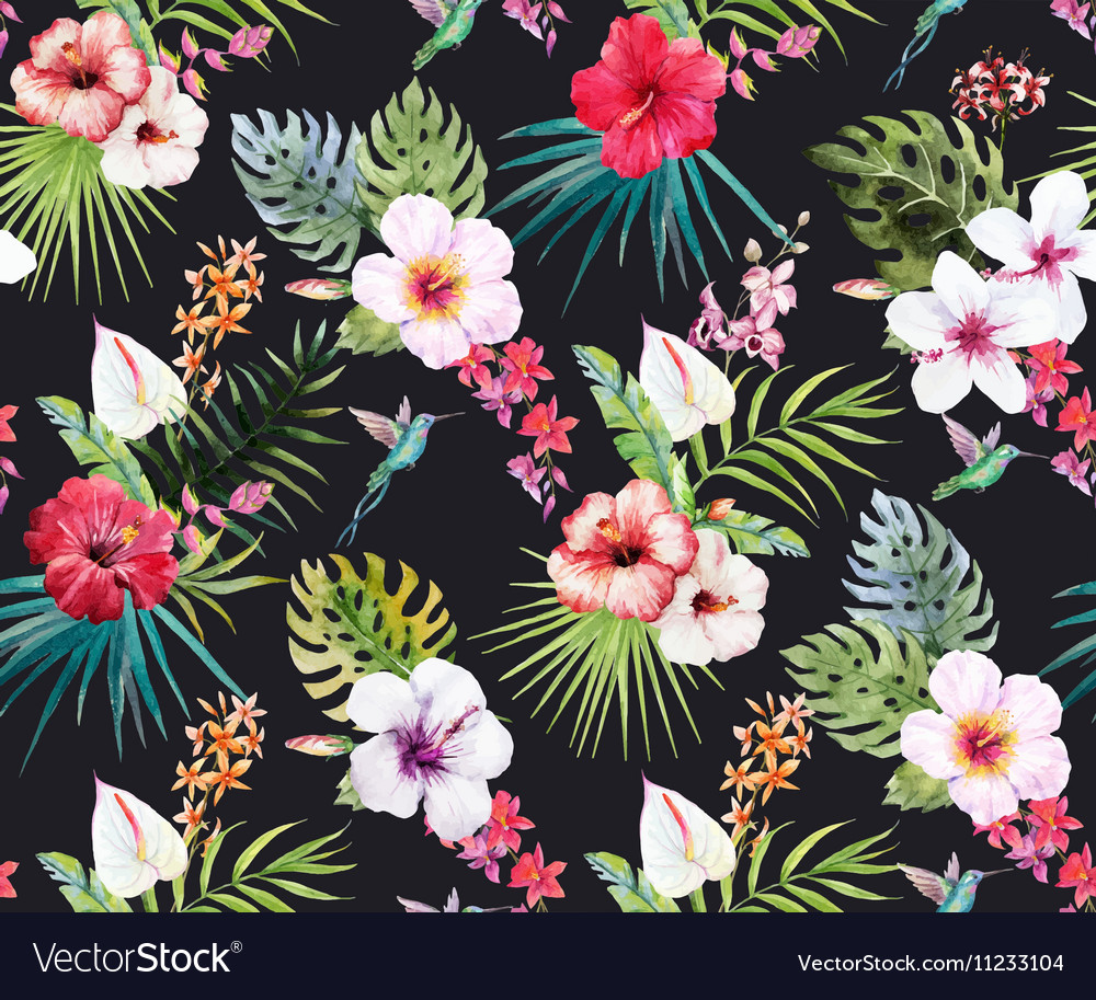 Watercolor Tropical Floral Pattern Royalty Free Vector Image