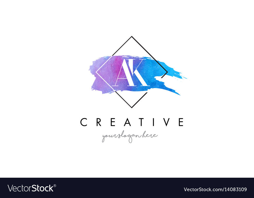 Ak artistic watercolor letter brush logo