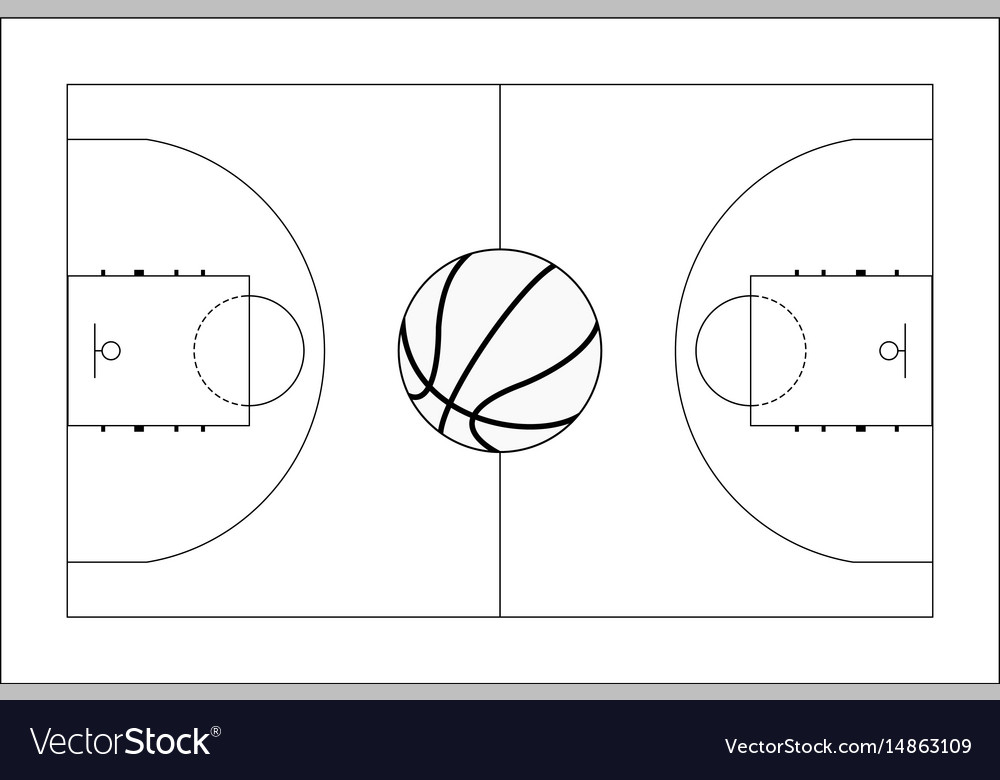 Basketball court basketball ball top view vector image