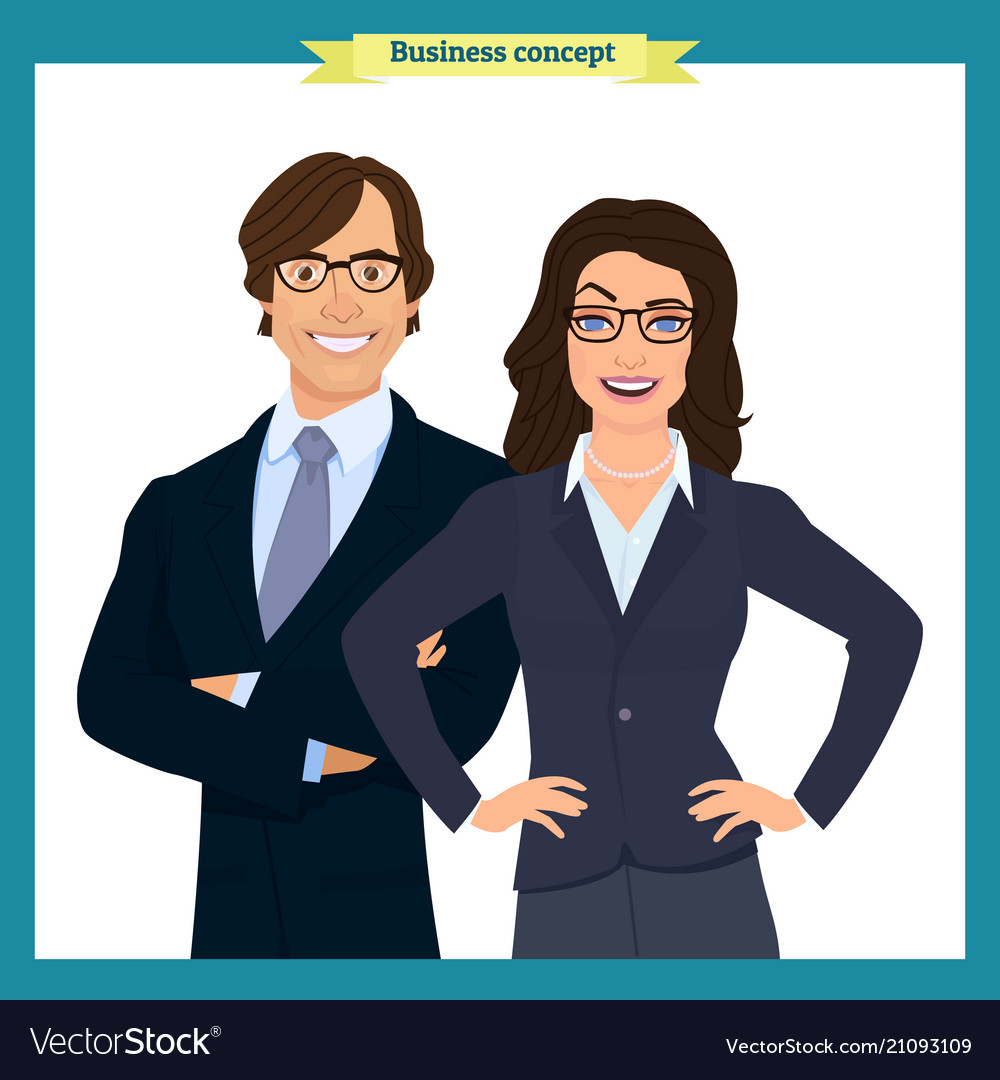 Businesswoman and businessman character design