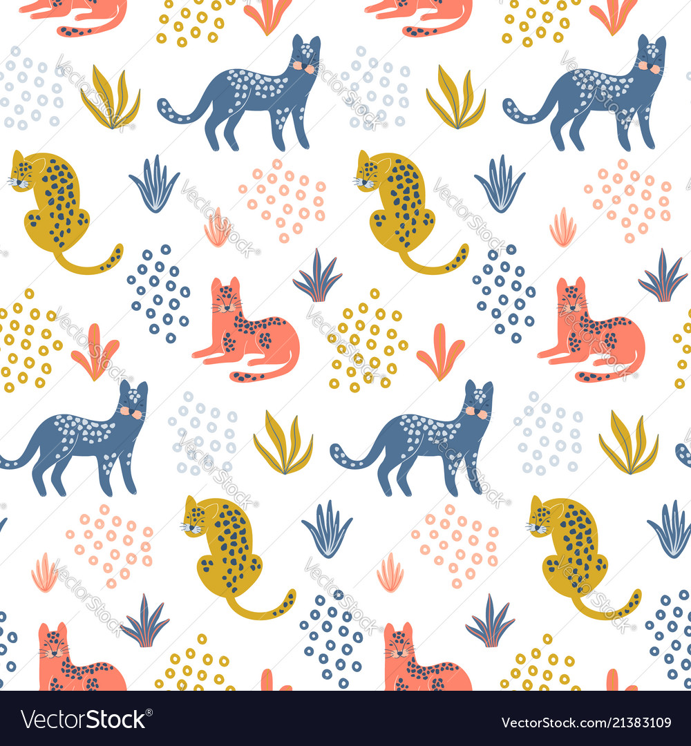 Cute seamless pattern with colorful leopards