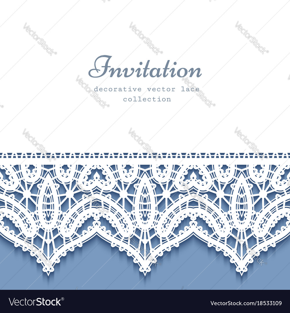 Decorative frame with lace border vector image