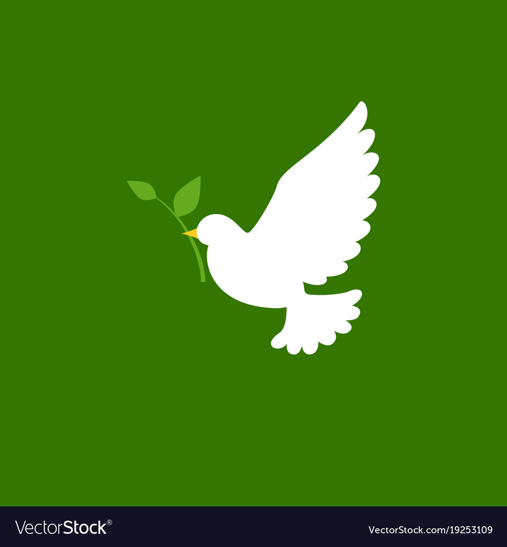 Dove and olive branch icon in flat style