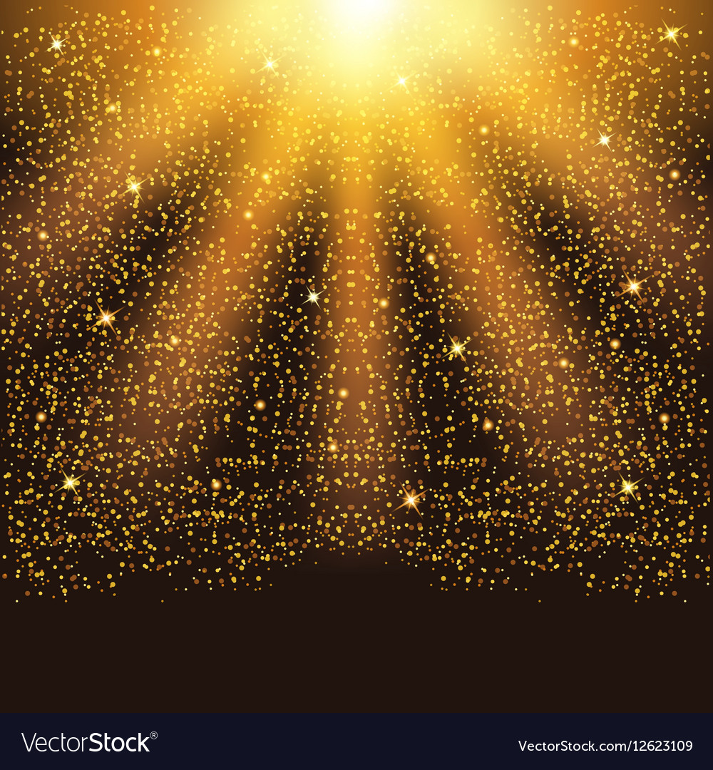 Golden falling sparkling particles and stars