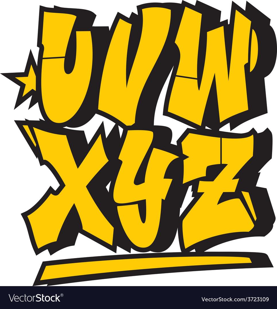 graffiti style font type alphabet part 3 vector image