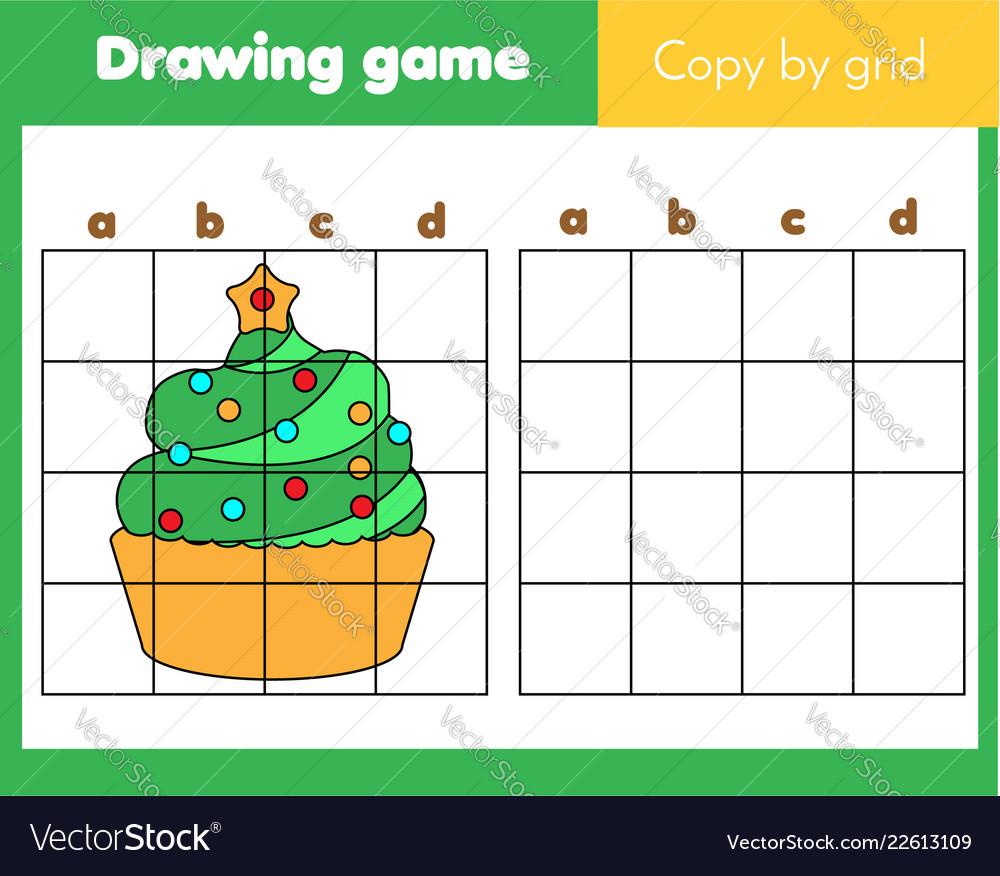 grid copy worksheet educational children game vector image