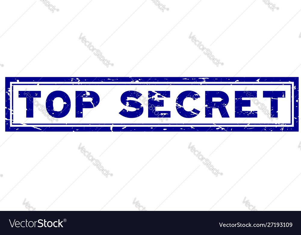 Grunge blue top secret word square rubber seal