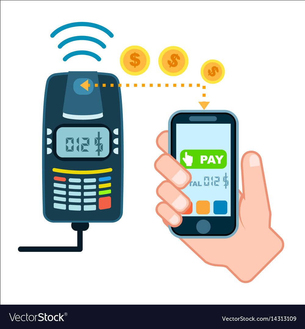 Mobile payment concept with pos terminal vector image