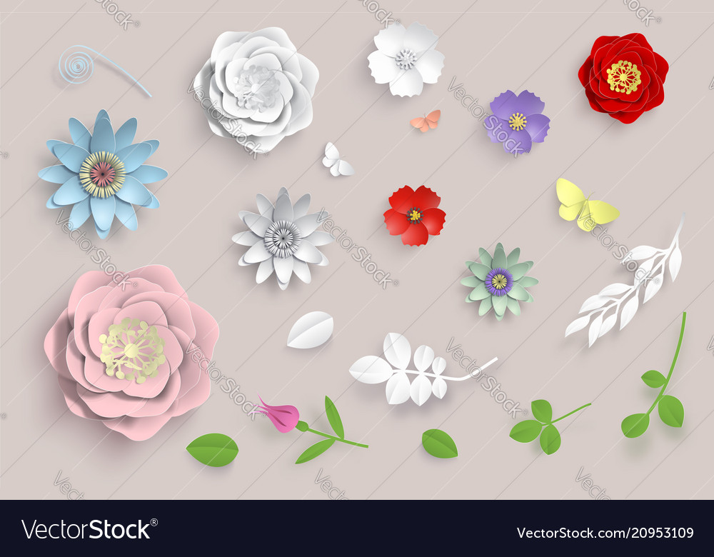 Paper art flowers set 3d origami flowers vector image mightylinksfo