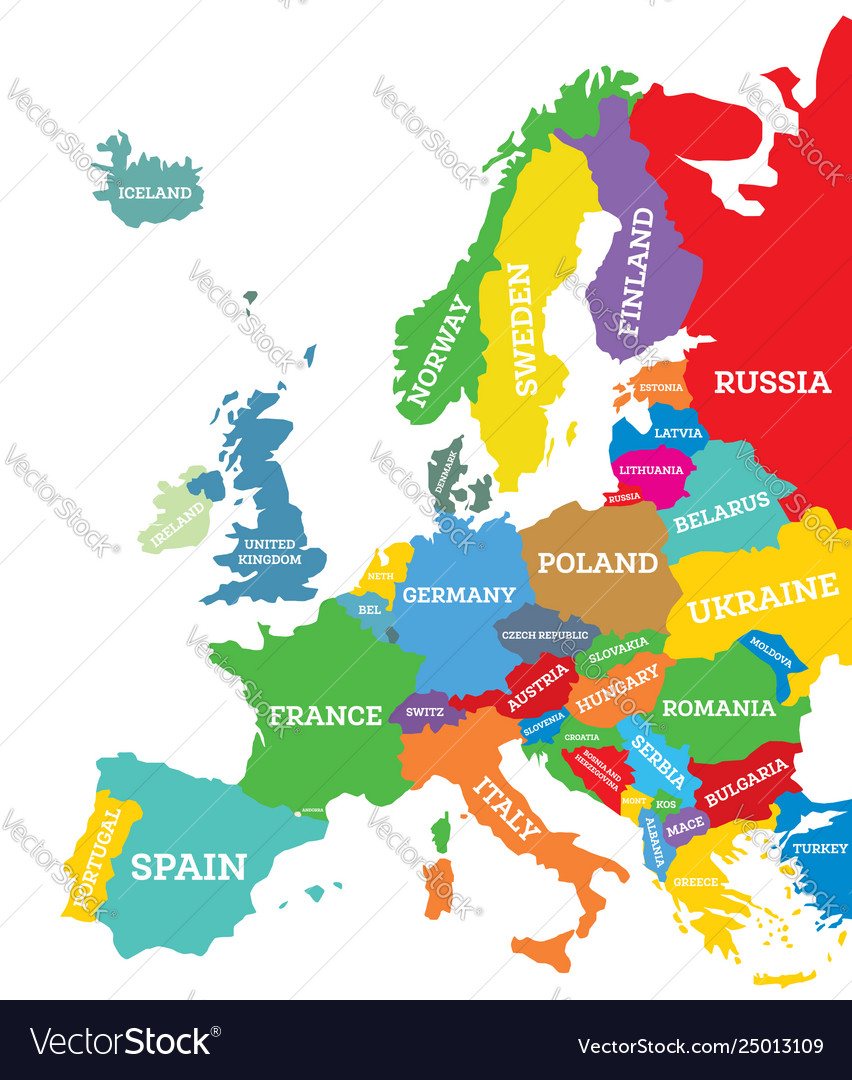 Map Europe Map.Political Map Europe Continent Royalty Free Vector Image