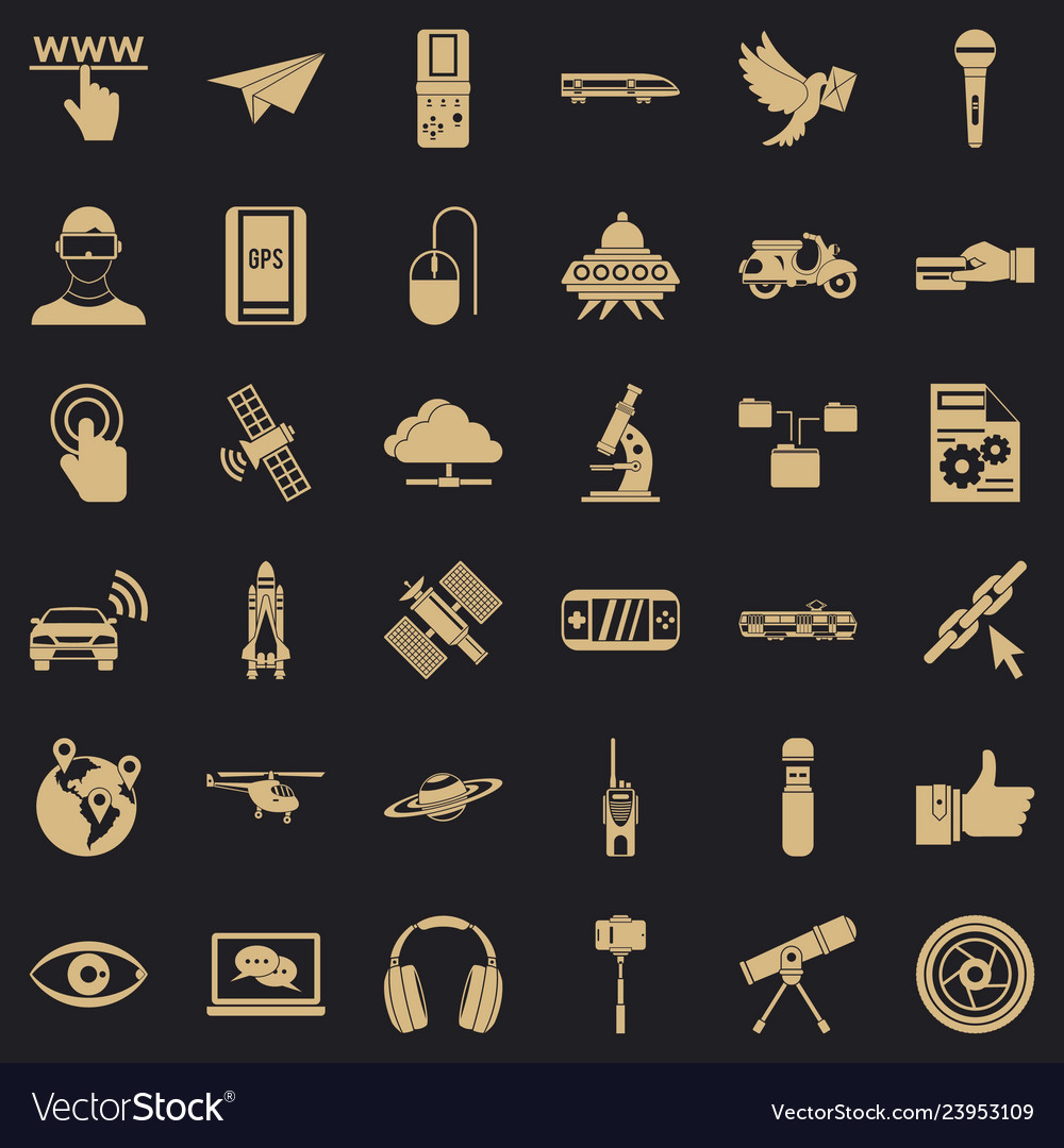 Radio technology icons set simple style