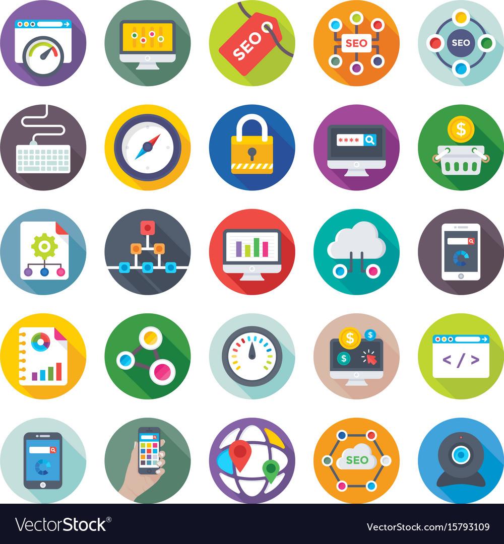 Seo and digital marketing icons 3 Royalty Free Vector Image