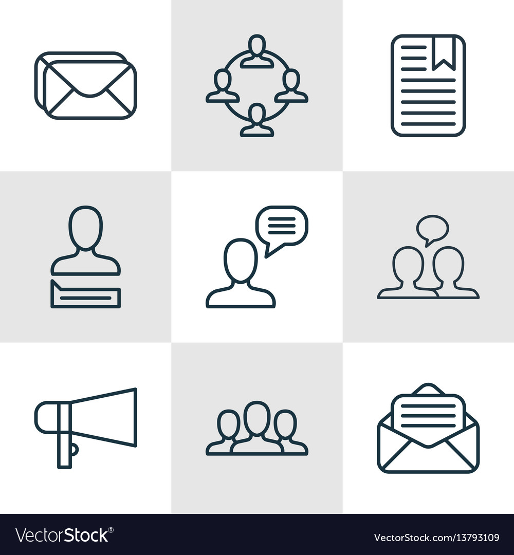Set of 9 social network icons includes society