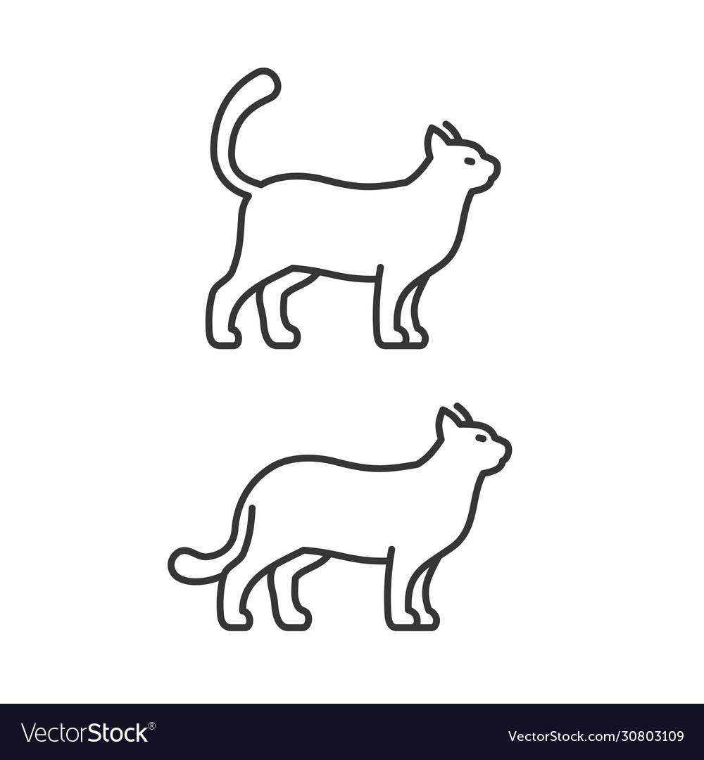 Walking cat icons on white background line style