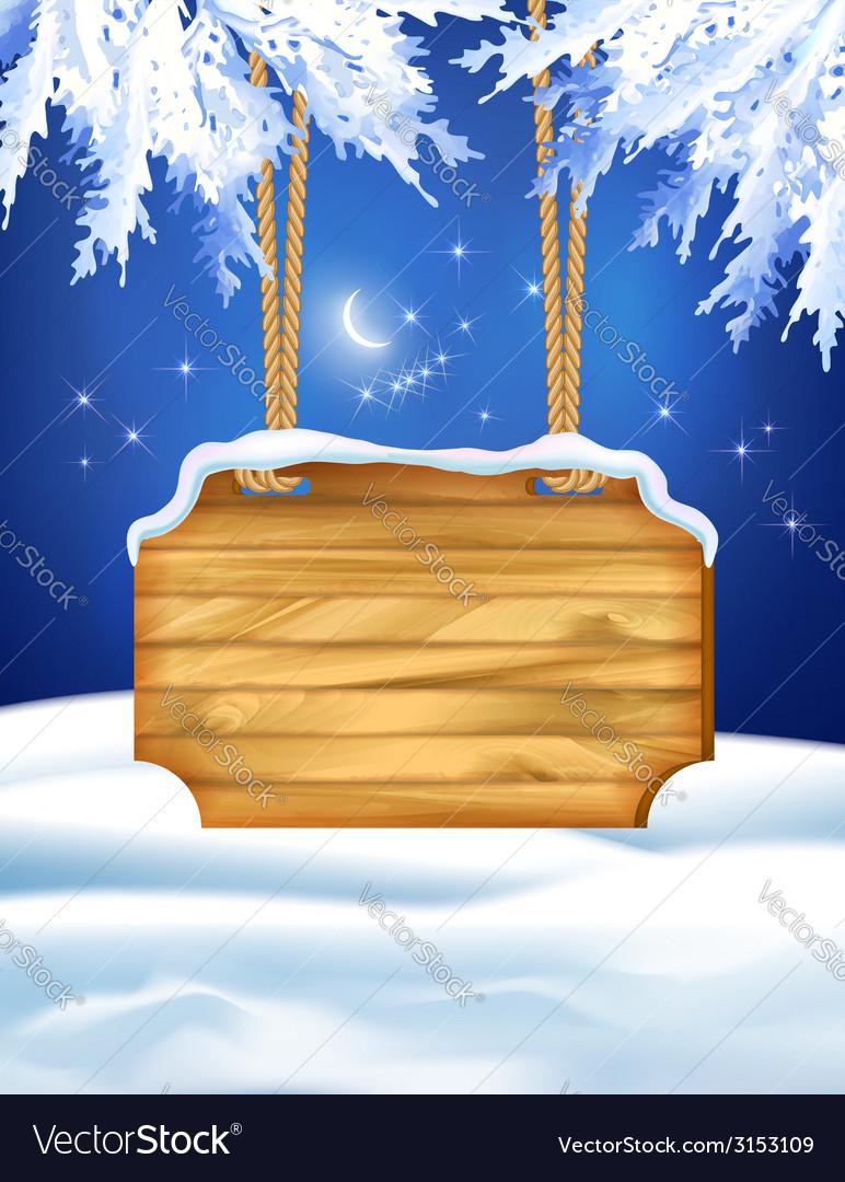 Winter Night Landscape Wooden Board
