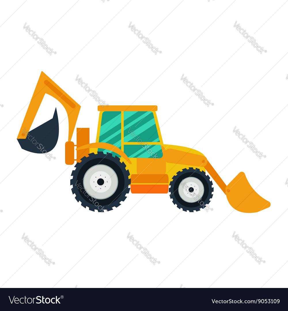 Yellow excavator on white background flat style