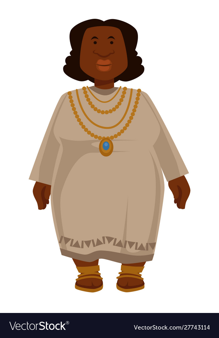 African plump woman in dress and jewelry isolated