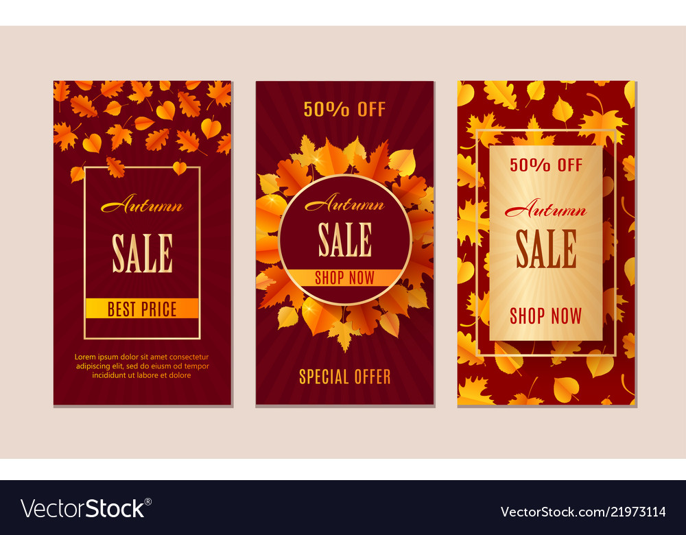 Autumn sale banners season leaf card design