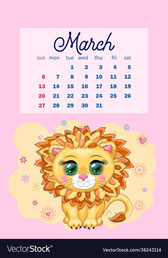 Cute March 2022 Calendar.Calendar 2022 With Cute Cardboard Animals For Vector Image