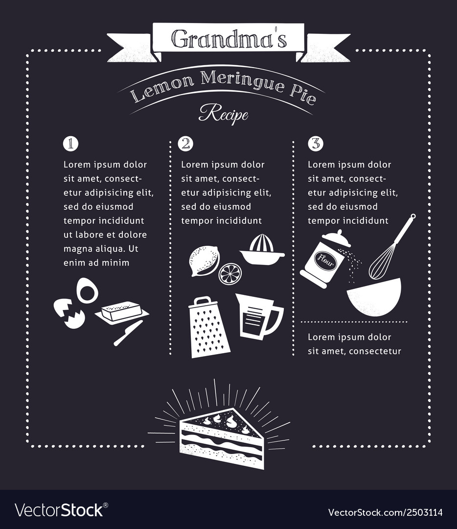 chalkboard meal recipe template design royalty free vector