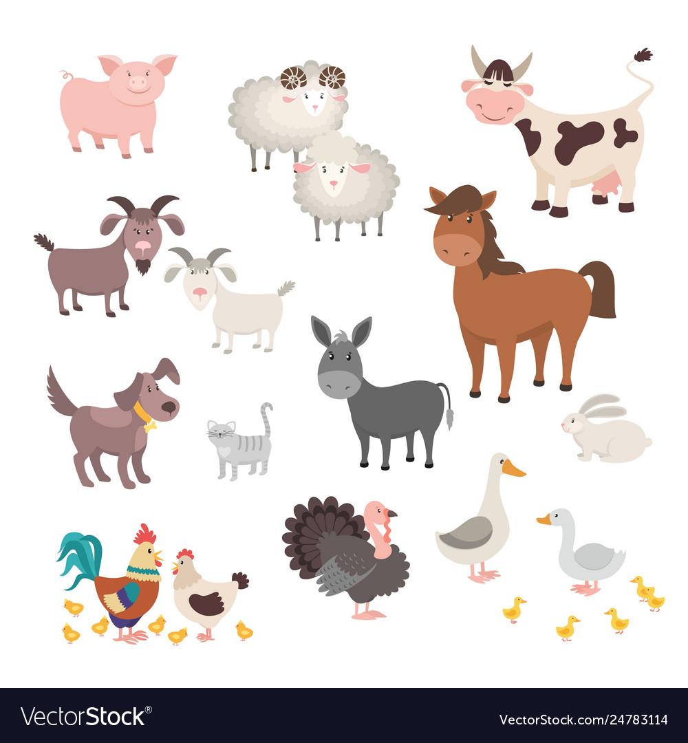 Farm animals set isolated homes animal pig