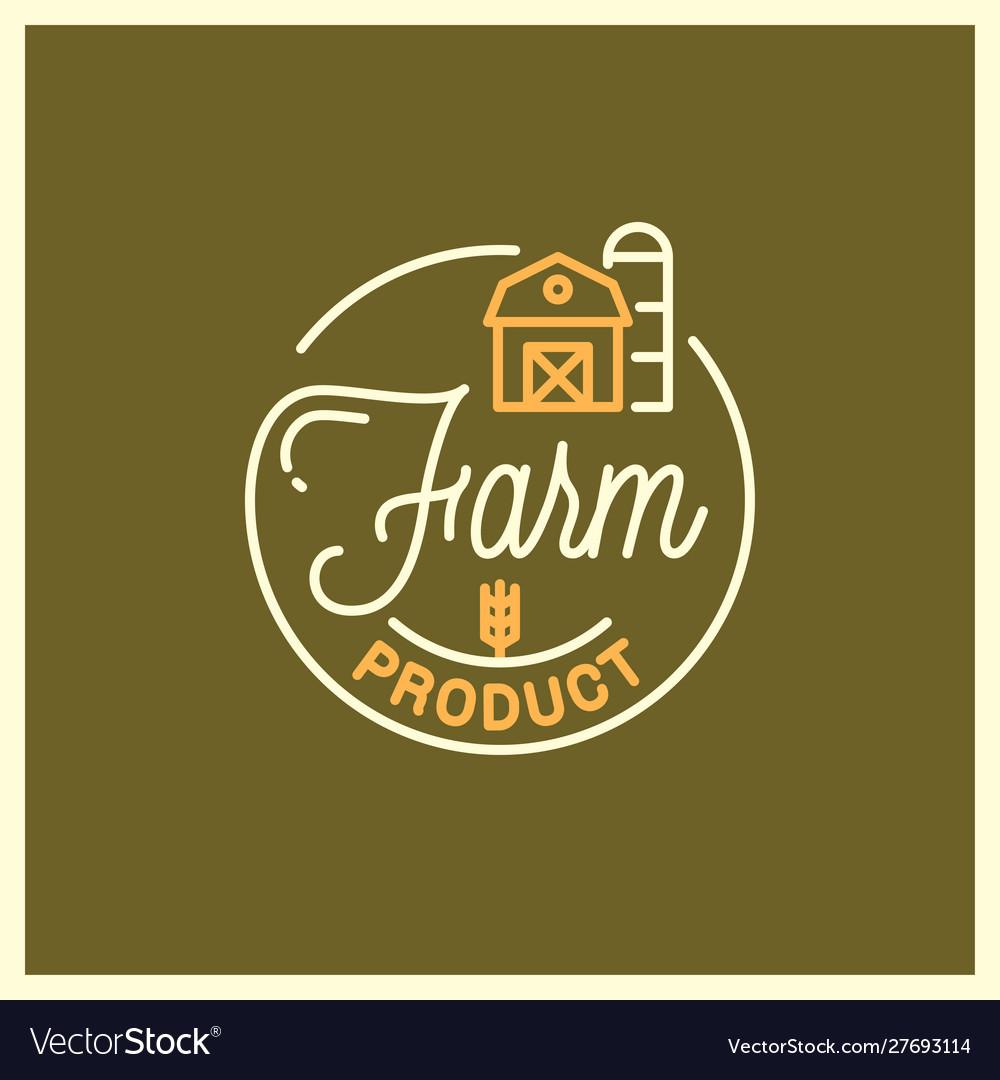 Farm product logo round linear logo farm