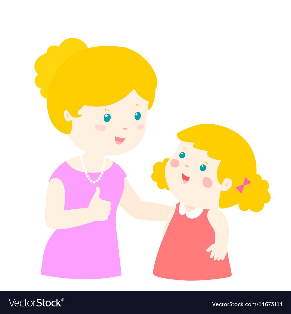 Mother admire daughter character cartoon xa