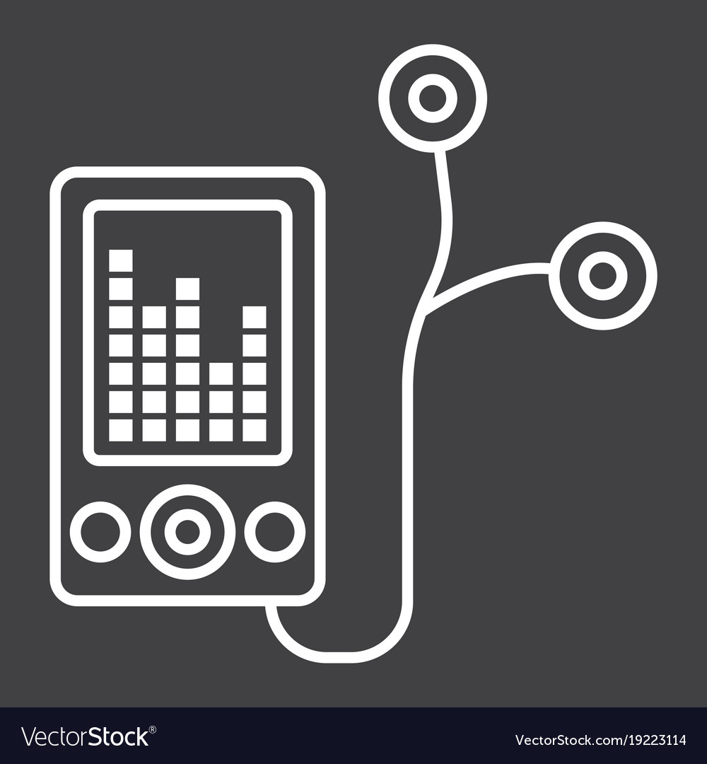 Mp Player Device Line Icon Fitness And Audio Vector Image