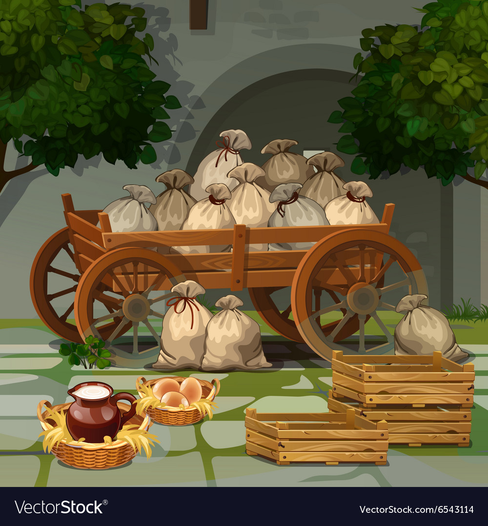 Old wooden cart with bags
