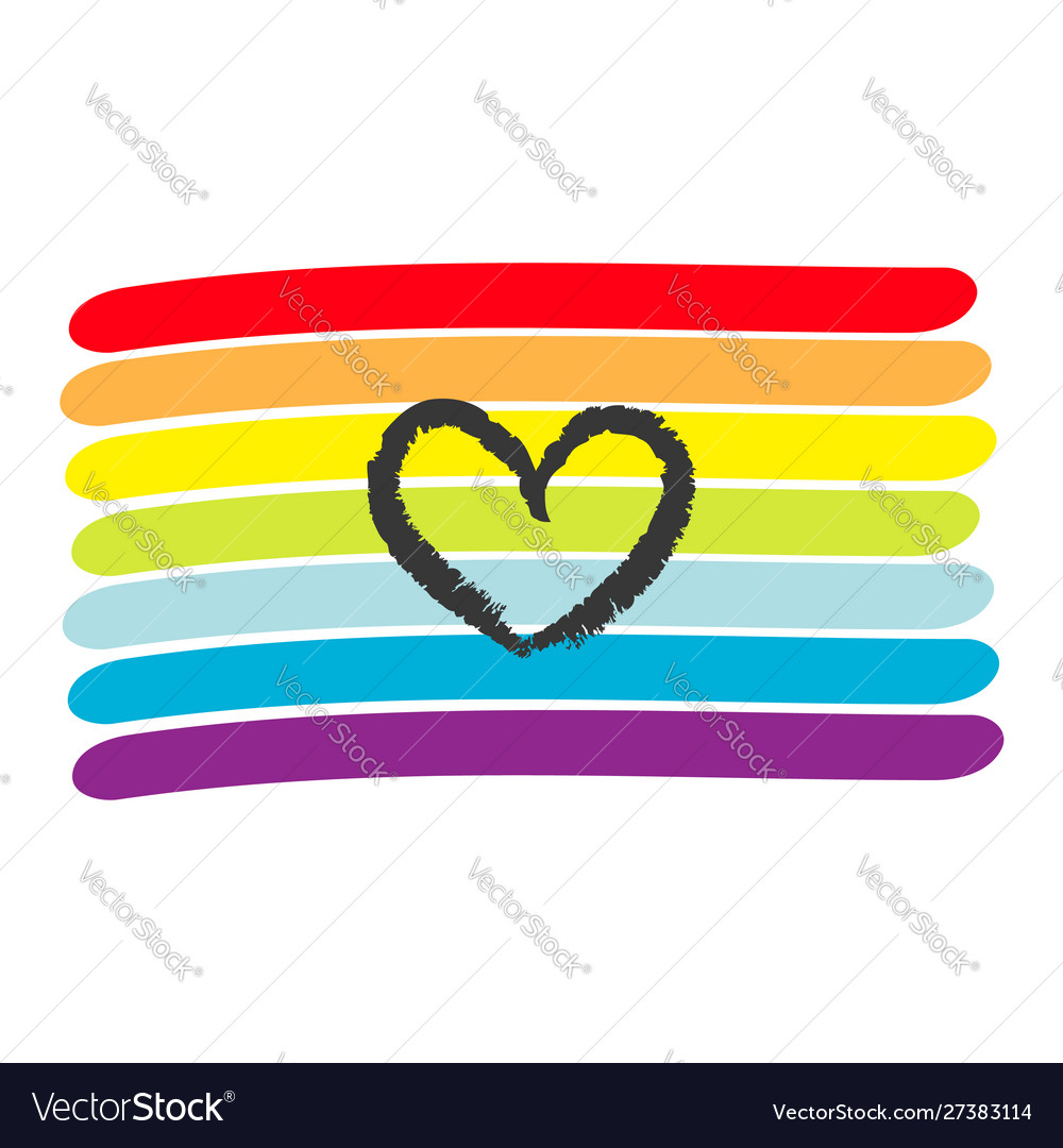 Rainbow flag lgbt gay symbol heart shape love
