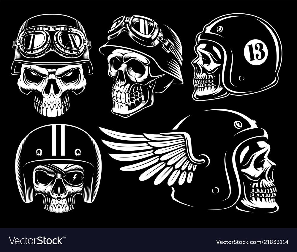 Set of biker skulls