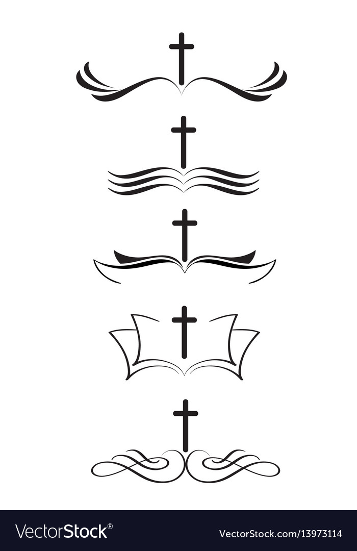 set of christian logos cross and bible stylized vector image