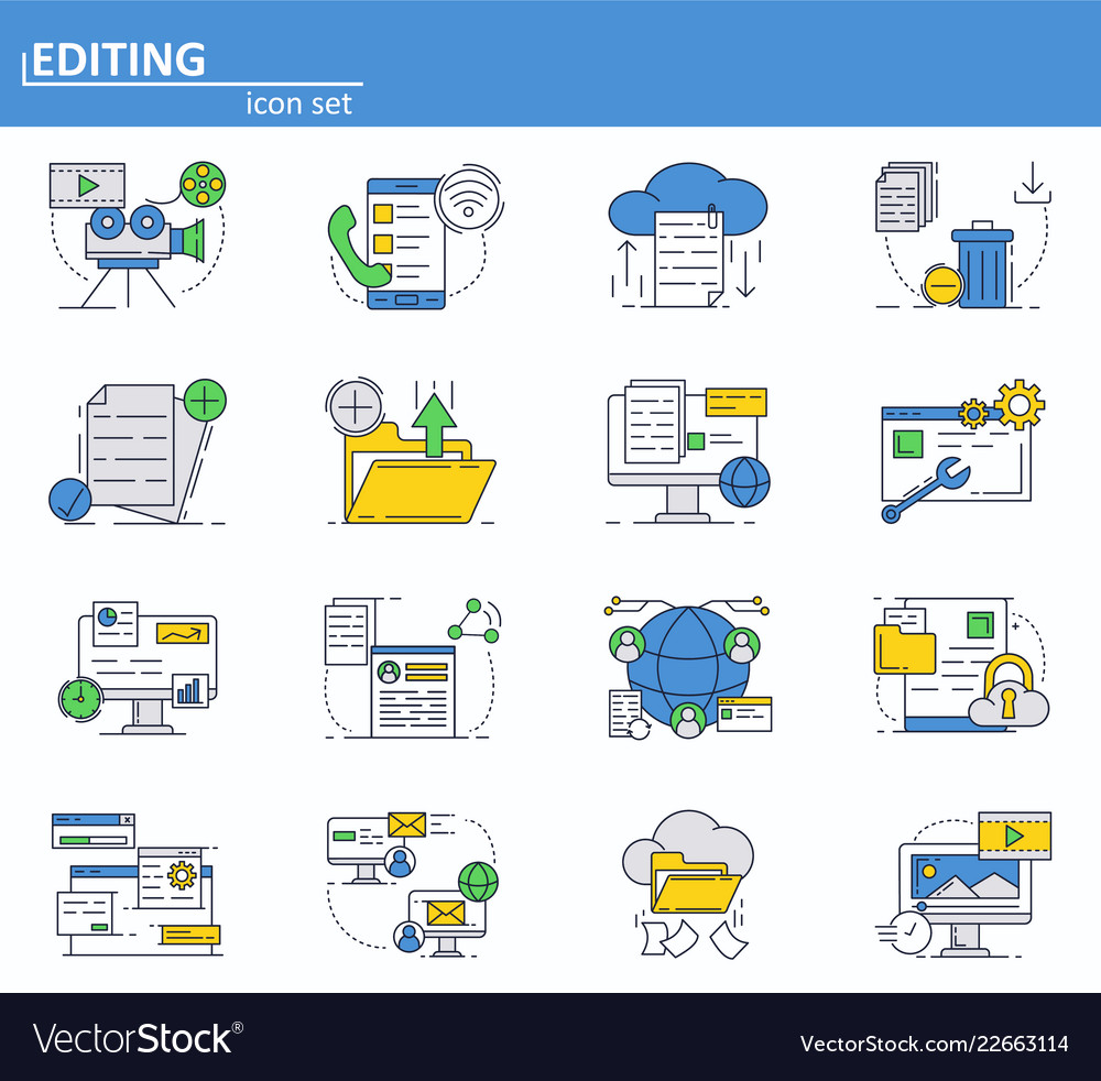 Set of computer services icons in thin line