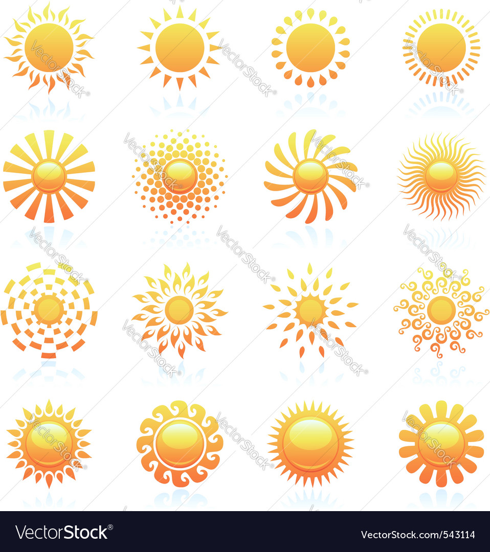 Sun vector logo template set vector image