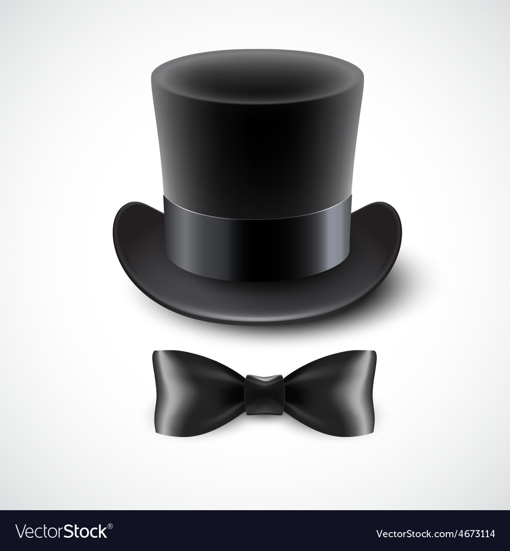 1ebd92eb7c3 Vintage top hat and a bow tie Royalty Free Vector Image