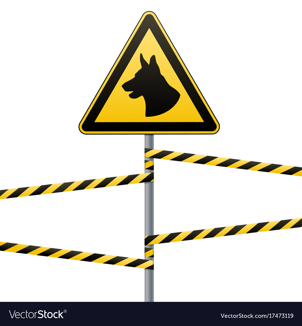 Caution - danger be aware of dogs the area is