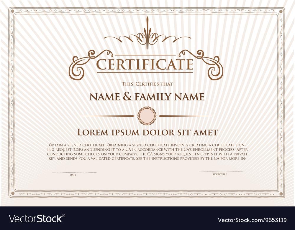 Certificate template design with emblem flourish