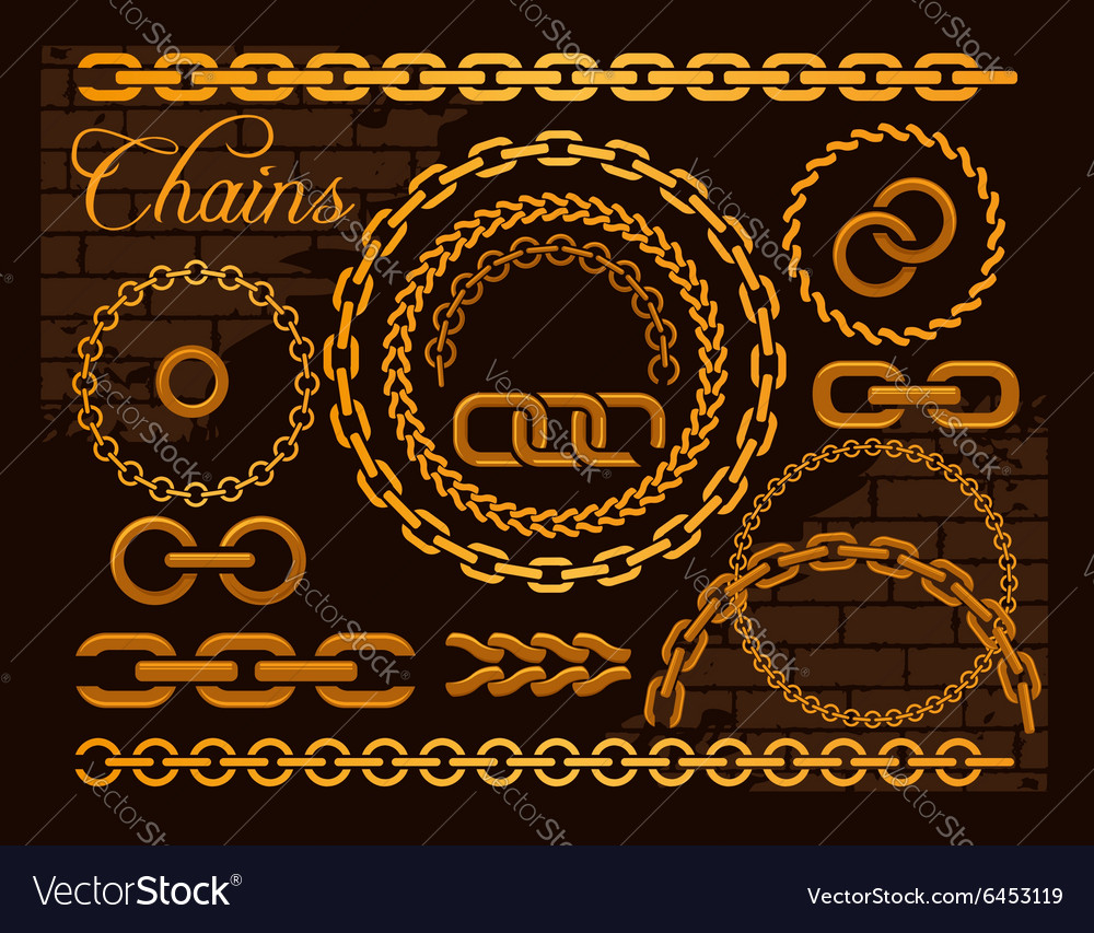 Golden chains on a dark background
