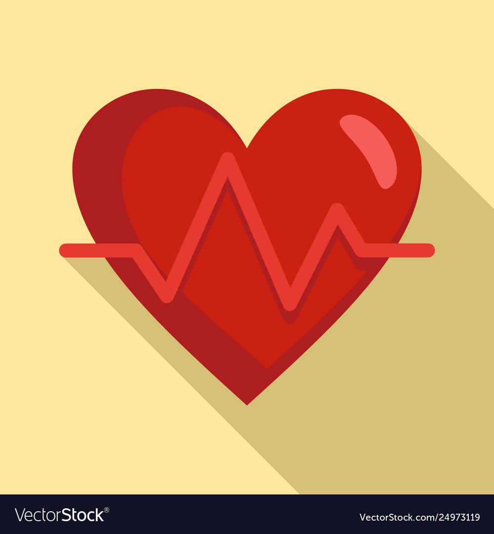 Heart rate icon flat style
