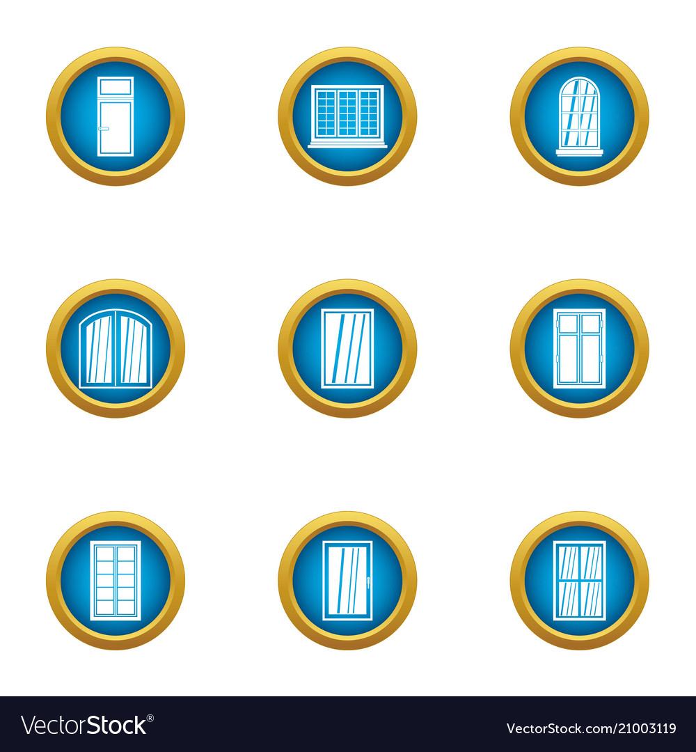 Little window icons set flat style