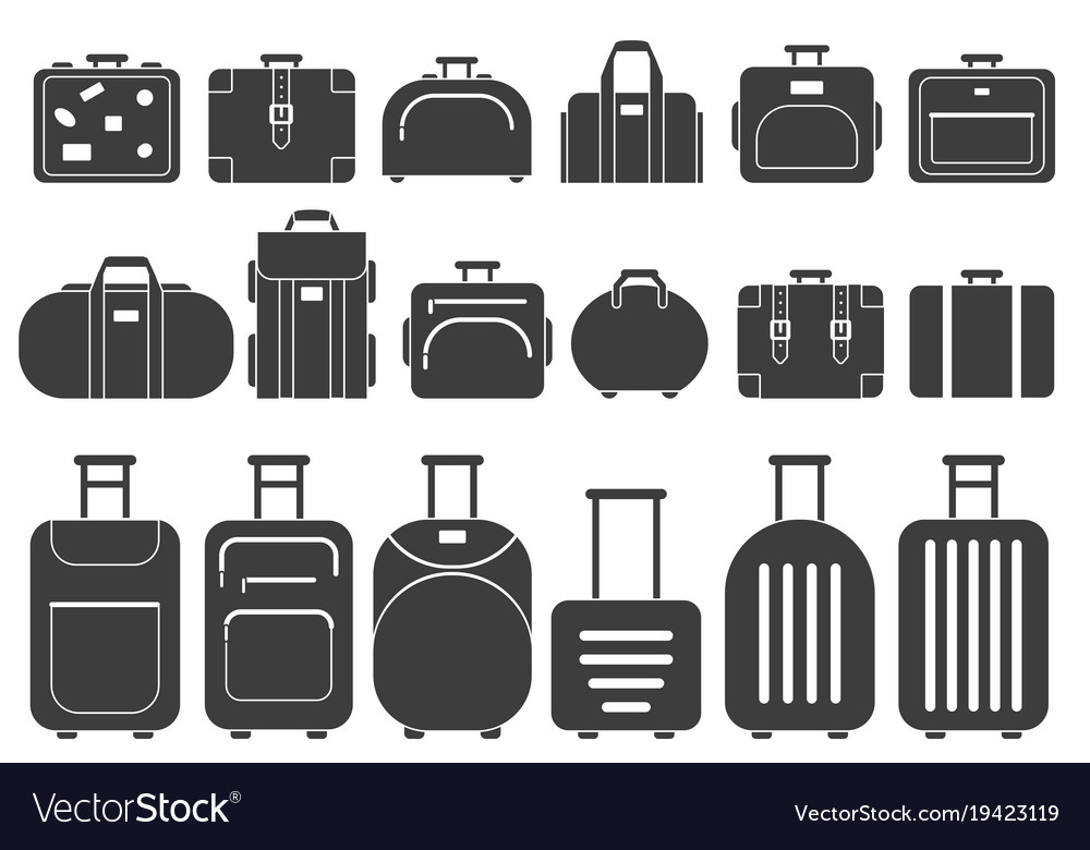 Monochrome pictures of suitcases and
