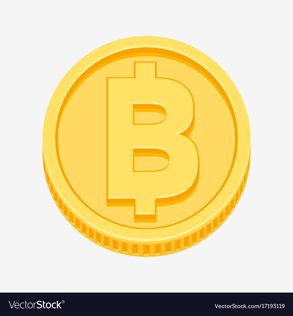 Thai Baht Currency Symbol On Gold Coin Royalty Free Vector