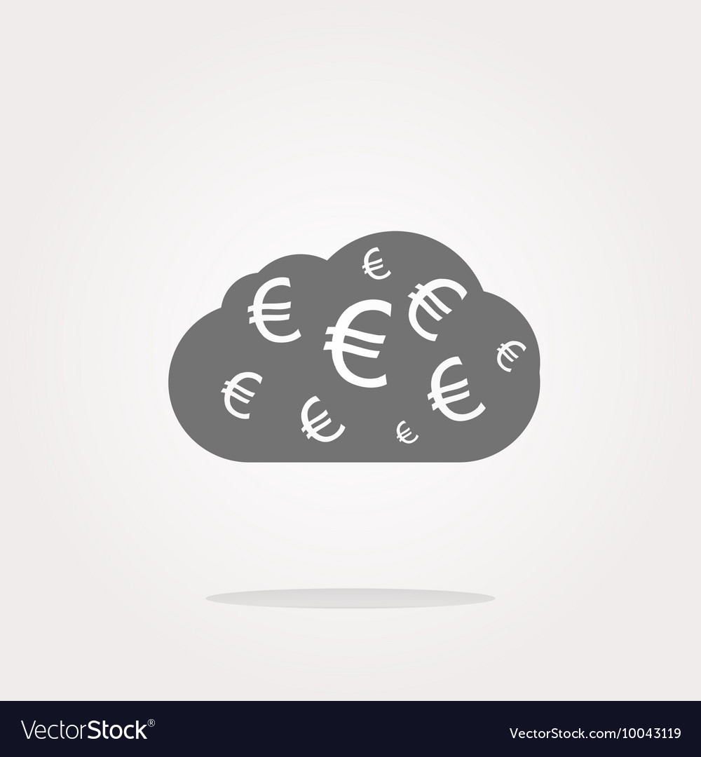 Web icon cloud with euro sign web button isolated
