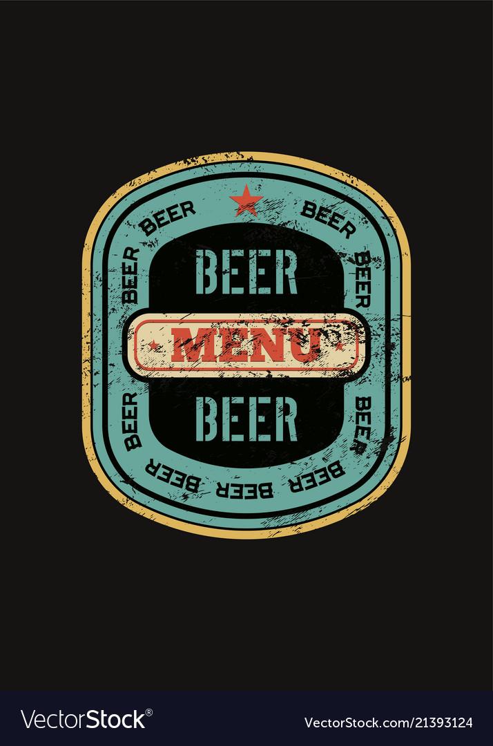 Beer menu design with retro beer label