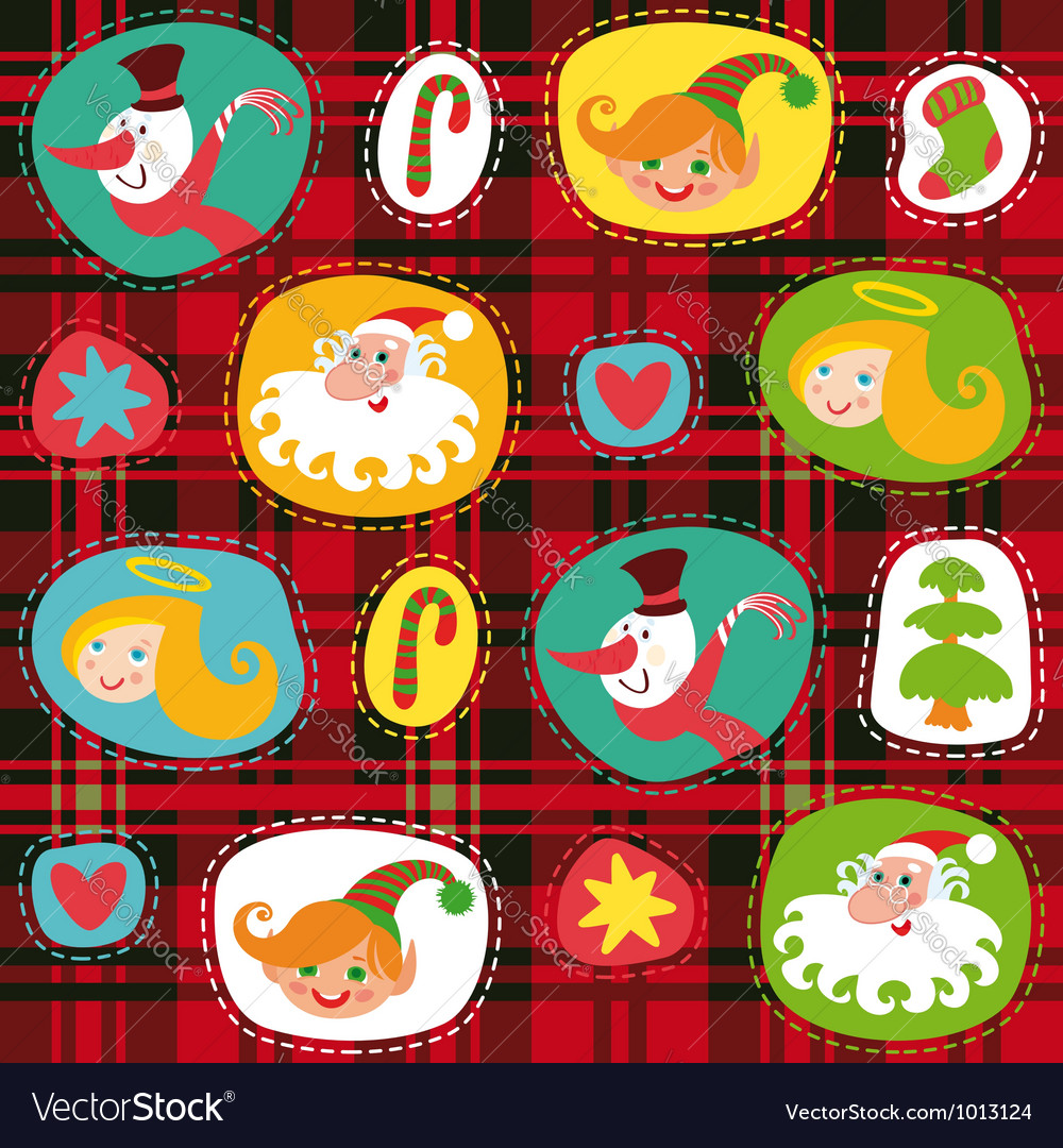 Christmas set plaid tartan pattern background