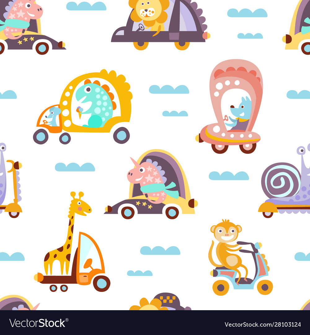 Funny cartoon animals driving different vehicles