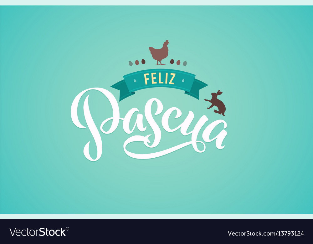 Happy easter spanish calligraphy greeting card